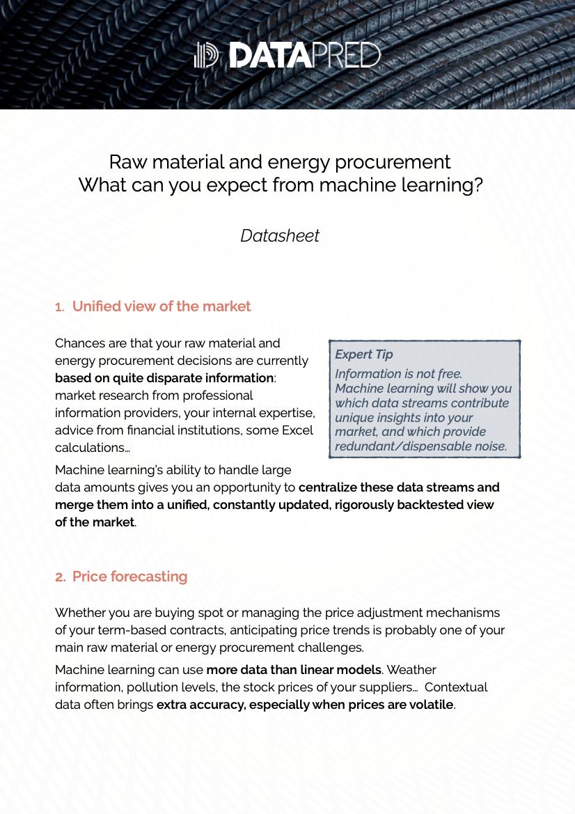 ML & Direct material procurement