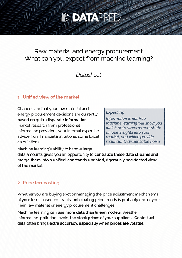 ML & Direct material procurement